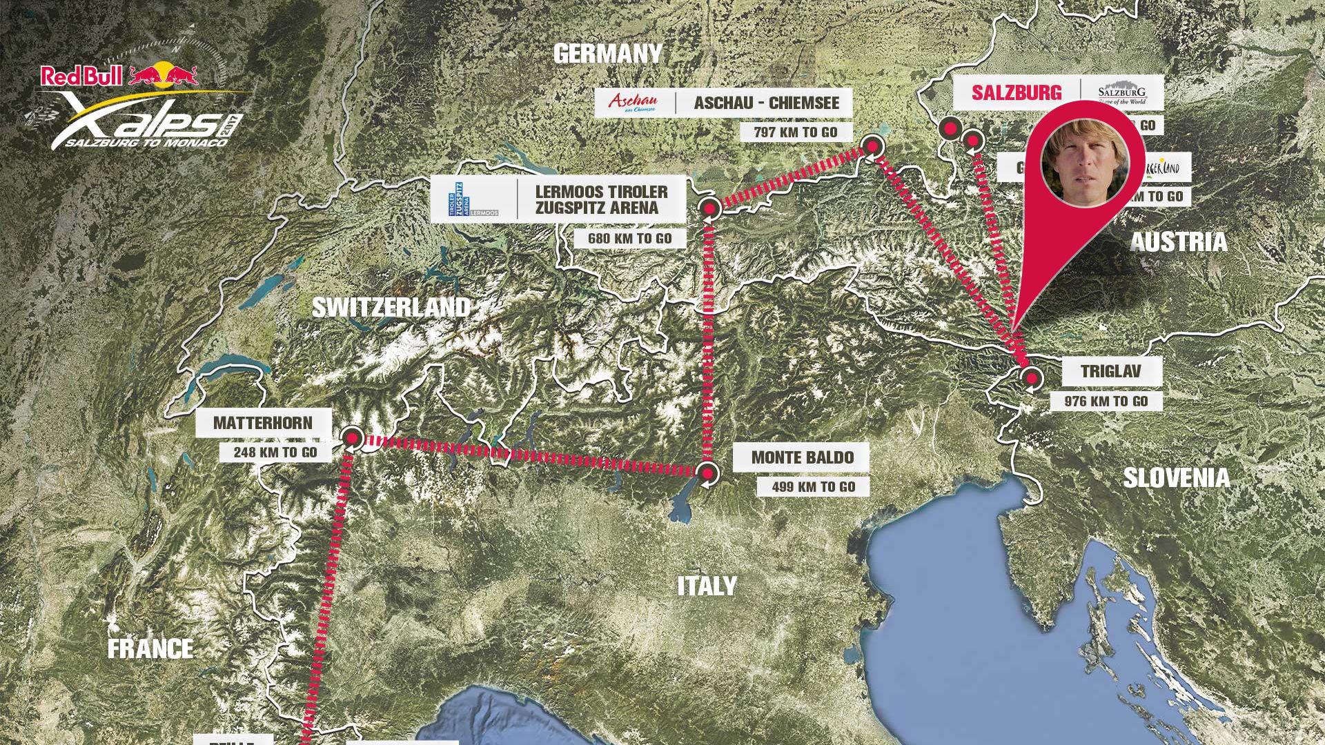 Mapa trasy wyścigu RedBull X-Alps